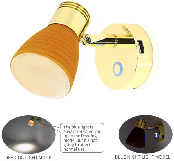 Reading Lamp with Copper USB Port Warm Light (2800-3200K)