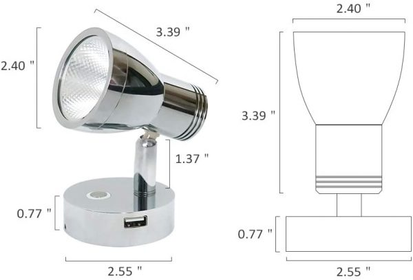 BEDSIDE DIMMING READING LIGHTS WITH USB